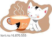 Котёнок белый. Стоковая иллюстрация, иллюстратор Павлова Елена / Фотобанк Лори
