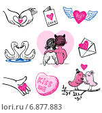 Иконки ко Дню святого Валентина. Стоковая иллюстрация, иллюстратор Миронова Анастасия / Фотобанк Лори