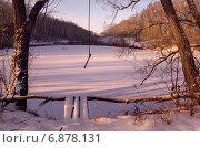 Морозный рассвет на реке Красивая Меча в Тульской области. Стоковое фото, фотограф Валерий Боярский / Фотобанк Лори
