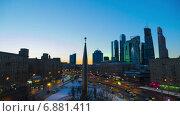 Купить «Новый центр города в Москве ночью, Россия», видеоролик № 6881411, снято 9 января 2015 г. (c) Серёга / Фотобанк Лори