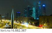 Купить «Ночной вид на Москва-Сити, Россия. Таймлапс», видеоролик № 6882387, снято 8 января 2015 г. (c) Серёга / Фотобанк Лори