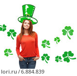 Купить «smiling teen girl in green top hat with shamrock», фото № 6884839, снято 27 ноября 2013 г. (c) Syda Productions / Фотобанк Лори
