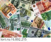 Купить «Фон из российских рублей, долларов США и евро», фото № 6892215, снято 22 февраля 2020 г. (c) Иван Марчук / Фотобанк Лори
