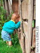 Купить «Мальчик у забора», фото № 6894335, снято 19 августа 2006 г. (c) Дмитрий Боков / Фотобанк Лори