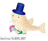 Купить «Рыбка-кавалер с цветами», иллюстрация № 6895387 (c) Виталий Кучинский / Фотобанк Лори