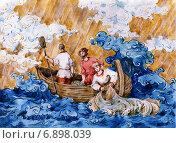 """Купить «Рыбаки в море. Акварельный рисунок в стиле """"Палех""""», иллюстрация № 6898039 (c) Марина / Фотобанк Лори"""