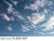 Купить «Небесный пейзаж с кучевыми облаками рваной формы на синем небе», фото № 6898447, снято 13 января 2015 г. (c) Ирина Водяник / Фотобанк Лори