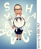 Купить «screaming businesswoman with megaphone», фото № 6900767, снято 8 декабря 2013 г. (c) Syda Productions / Фотобанк Лори