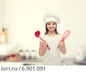 Купить «smiling girl in cook hat with ladle and whisk», фото № 6901091, снято 9 апреля 2014 г. (c) Syda Productions / Фотобанк Лори