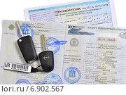 Купить «Документы при покупке нового автомобиля», фото № 6902567, снято 9 января 2015 г. (c) Сергей Галинский / Фотобанк Лори