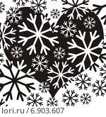 Черное сердце на белом фоне из снежинок. Стоковая иллюстрация, иллюстратор Микрюкова Елена / Фотобанк Лори