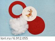 Кружок с вышивкой, круги из фетра, синтепон - детали ёлочного украшения. Стоковое фото, фотограф Dmitry29 / Фотобанк Лори