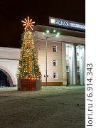 Купить «Рождественская елка возле центральной проходной завода компании ЕВРАЗ НТМК», фото № 6914343, снято 1 января 2014 г. (c) Евгений Ткачёв / Фотобанк Лори