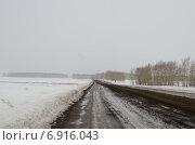 Зимняя проселочная дорога. Сибирский пейзаж. Стоковое фото, фотограф Илья Пермяков / Фотобанк Лори