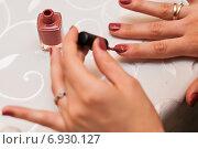 Купить «Девушка красит ногти лаком», эксклюзивное фото № 6930127, снято 31 декабря 2014 г. (c) Игорь Низов / Фотобанк Лори