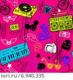Купить «Различные музыкальные предметы и символы на фиолетовом фоне», иллюстрация № 6940335 (c) Миронова Анастасия / Фотобанк Лори
