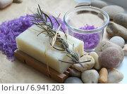 Мыло с лавандой и морская соль. Стоковое фото, фотограф Юлия Москаленко / Фотобанк Лори