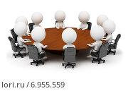 Купить «Белые 3d человечки сидят за круглым столом на белом фоне», иллюстрация № 6955559 (c) Anatoly Maslennikov / Фотобанк Лори