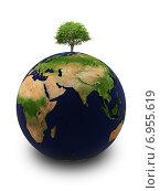 Купить «Земной шар с деревом», иллюстрация № 6955619 (c) Anatoly Maslennikov / Фотобанк Лори
