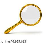 Купить «Золотая лупа на белом фоне», иллюстрация № 6955623 (c) Anatoly Maslennikov / Фотобанк Лори
