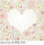 Рамка в форме сердца из цветов. Стоковая иллюстрация, иллюстратор Миронова Анастасия / Фотобанк Лори