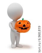 Купить «3d человечек с тыквой к Хэллоуину», иллюстрация № 6960819 (c) Anatoly Maslennikov / Фотобанк Лори