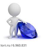 Купить «3d-человек с голубым ювелирным камнем», иллюстрация № 6960831 (c) Anatoly Maslennikov / Фотобанк Лори