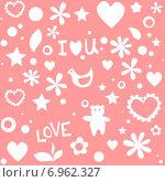 Бесшовная абстрактная текстура ко дню Святого Валентина. Стоковая иллюстрация, иллюстратор Ирина Балина / Фотобанк Лори