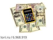 Купить «Бизнес-натюрморт с предметами бизнеса. Доллары и калькулятор», эксклюзивное фото № 6968919, снято 30 января 2015 г. (c) Юрий Морозов / Фотобанк Лори