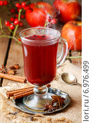 Купить «Mulled wine - a beverage made with red wine along with various mulling spices and raisins.», фото № 6976499, снято 15 октября 2018 г. (c) BE&W Photo / Фотобанк Лори