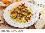 Купить «Traditional scrambled eggs with fresh chanterelle. Summer dish», фото № 6977279, снято 6 июня 2020 г. (c) BE&W Photo / Фотобанк Лори