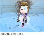 Купить «Снеговик на улице зимой», эксклюзивное фото № 6981855, снято 2 марта 2011 г. (c) lana1501 / Фотобанк Лори