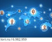 Купить «pictures of businesspeople over world map», фото № 6982959, снято 3 июля 2020 г. (c) Syda Productions / Фотобанк Лори