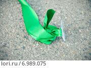 Купить «Осколок фужера с зеленой лентой лежит на асфальте», фото № 6989075, снято 20 августа 2011 г. (c) Михаил Смиров / Фотобанк Лори