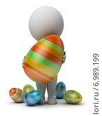 Купить «3d человек с пасхальным яйцом», иллюстрация № 6989199 (c) Anatoly Maslennikov / Фотобанк Лори