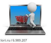 Купить «3d человечки - покупки в интернете», иллюстрация № 6989207 (c) Anatoly Maslennikov / Фотобанк Лори