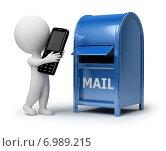 Купить «Белая фигурка человека с мобильным телефоном в руках и почтовый ящик», иллюстрация № 6989215 (c) Anatoly Maslennikov / Фотобанк Лори