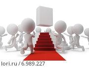 Купить «Белые фигурки людей, предмет на пьедестале», иллюстрация № 6989227 (c) Anatoly Maslennikov / Фотобанк Лори