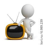 Купить «3d человек с телевизором», иллюстрация № 6989239 (c) Anatoly Maslennikov / Фотобанк Лори