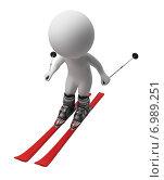 Купить «3d человек на лыжах. Белый фон», иллюстрация № 6989251 (c) Anatoly Maslennikov / Фотобанк Лори