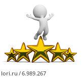 Купить «3d человечек в прыжке над звездами», иллюстрация № 6989267 (c) Anatoly Maslennikov / Фотобанк Лори