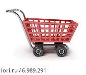 Купить «Магазинная тележка на белом фоне», иллюстрация № 6989291 (c) Anatoly Maslennikov / Фотобанк Лори