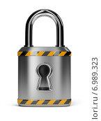 Купить «Стальной замок с желто-черными полосами», иллюстрация № 6989323 (c) Anatoly Maslennikov / Фотобанк Лори