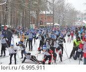 Купить «Лыжный забег «Лыжня России» на расстояние 5 км», фото № 6995911, снято 8 февраля 2015 г. (c) Павел Кулинич / Фотобанк Лори
