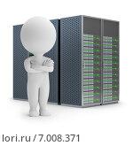 Купить «3d-человечек стоит на фоне сервера», иллюстрация № 7008371 (c) Anatoly Maslennikov / Фотобанк Лори