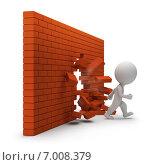 Купить «3d человечек прошел через кирпичную стену», иллюстрация № 7008379 (c) Anatoly Maslennikov / Фотобанк Лори