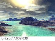 Чужая планета. Скалы и озеро. Стоковая иллюстрация, иллюстратор Parmenov Pavel / Фотобанк Лори