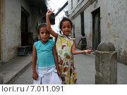 Купить «Two little black Arab girl standing on a narrow street. Стоун Таун - Каменный город на острове Занзибар, две десятилетние девочки  гримасничают и кривляются перед туристами с фотокамерами.», фото № 7011091, снято 16 февраля 2008 г. (c) Владимир Григорьев / Фотобанк Лори
