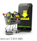 Downloading mobile apps concept. Application software icons in shopping cart and smartphone. Стоковое фото, фотограф Maksym Yemelyanov / Фотобанк Лори
