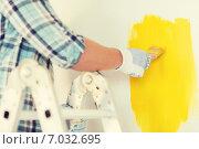 Купить «close up of male in gloves holding paintbrush», фото № 7032695, снято 28 января 2014 г. (c) Syda Productions / Фотобанк Лори